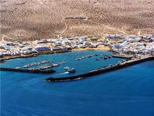 Aeria view of the La Graciosa Harbour