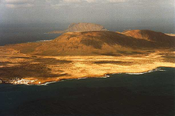 Another view of the Island with Caleta del Sebo bottom left