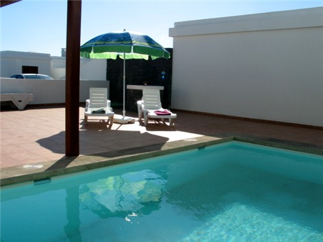 View across private electricall heated pool