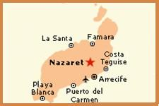 Map of Lanzarote showing central location of Oasis de Nazaret