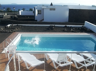 View from the Upper Terrace overlooking Pool - Sea views in rear