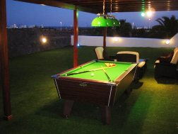 View across Pool Table at night